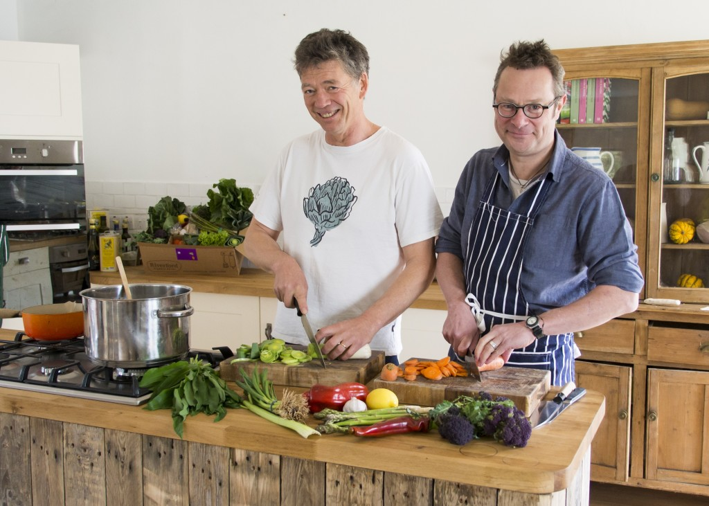 Guy Watson and Hugh cooking.