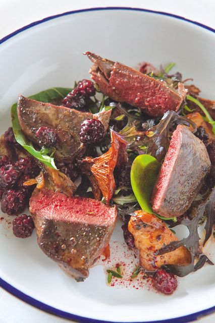 Pigeon with blackberries and chanterelles © Gavin Kingcome