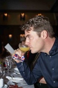 male drinking cocktail